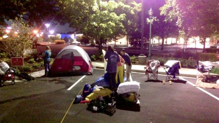 Dunwoody residents setting up camp outside a new Chick-fil-A restaurant on Ashford-Dunwoody Road.