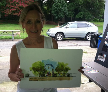 Mary Ann Kelly, president of the Brookhaven Park Conservancy, displays an illustration of a possible park entry gate during a Sept. 10 park improvement input session.