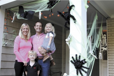 The Burke family, from left, Kate, Owen, 5, Wells and Margaret, 3, go crazy over Halloween. They also help the dads by having a bucket of beer at their door.