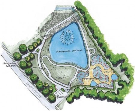 A city illustration of the Marsh Creek pond and park project.