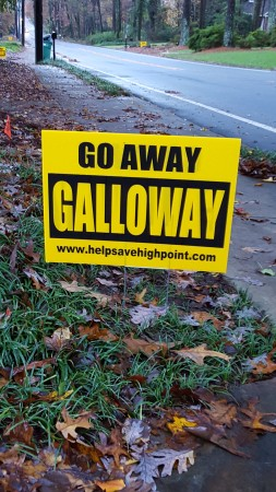 One of the protest signs in the neighborhood around the proposed Galloway School athletic facility site on High Point Road.