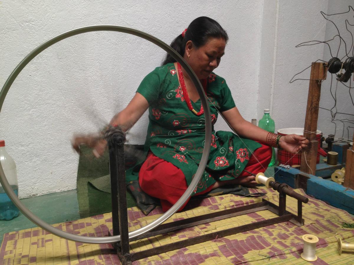 A woman weaving in Pokhara, Nepal