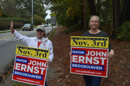 Kathryn Gable, left, and Katherine Coy campaign for John Ernst for mayor of Brookhaven on Election Day, Nov. 3.