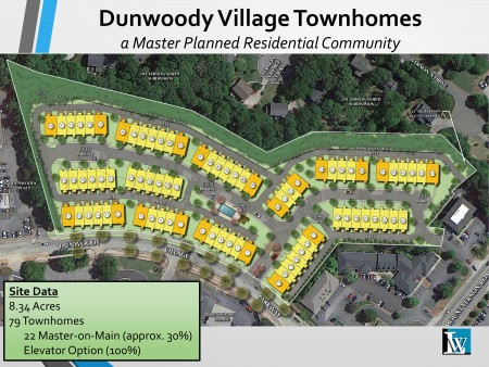 A plan for 79 townhouses in Dunwoody Village includes 30 percent master bedrooms on the main floor and 100 percent of the units have an elevator option available. Each unit will have at least three bedrooms and a two-car garage.
