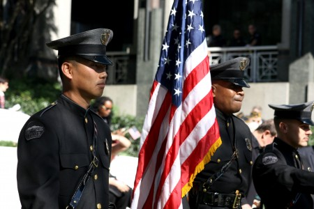 Sgt. Hyon Yi (left) with members of the Sandy Springs Honor Guard Lemmie Shorts (center) and Kevin Smith (right) during the Sixth Annual Veterans Day Tribute Nov. 11 at Concourse. Photo by Ellen Eldridge