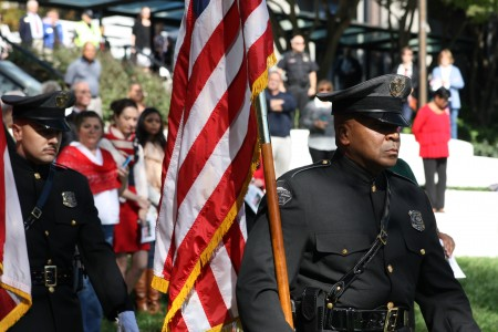 Sandy Springs Honor Guard members Lemmie Shorts (right) and Kevin Smith (left) during the Sixth Annual Veterans Day Tribute Nov. 11 at Concourse.