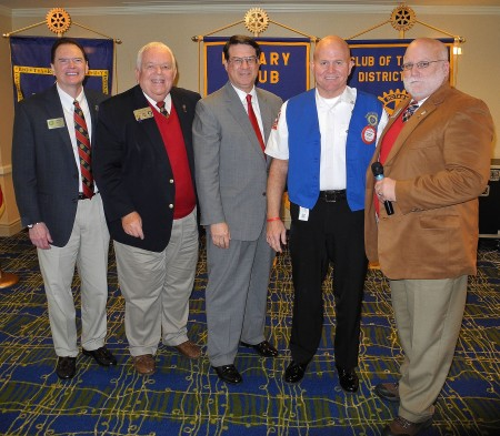 Pictured left to right: President Jerry Hicks, Jim Squire, Mayor Rusty Paul, Chief Keith Sanders, District 6900 Governor-Elect Raymond Ray.