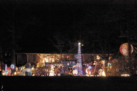 The Talbott home in Sandy Springs displays 22,000 lights and figurines set out by Greg Talbot Sr. and son, Greg Talbot Jr. Photo by Ellen Eldridge