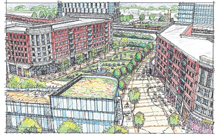 An illustration of the potential redevelopment around the Brookhaven/Oglethorpe MARTA station.