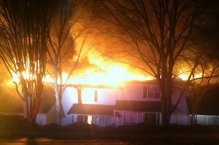 A 2-alarm fire Sunday night left more than 10 families in the Dunwoody Village apartment area without homes. Photo courtesy Dunwoody City Councilman John Heneghan.