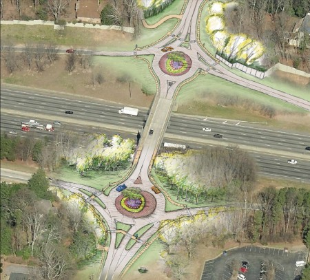 A Georgia Department of Transportation illustration of the roundabouts proposed for Riverside Drive's access to I-285.
