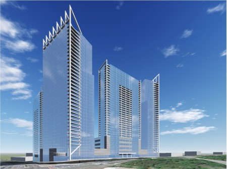 An illustration of some of the towers in the 1117 Perimeter Center West rezoning application.
