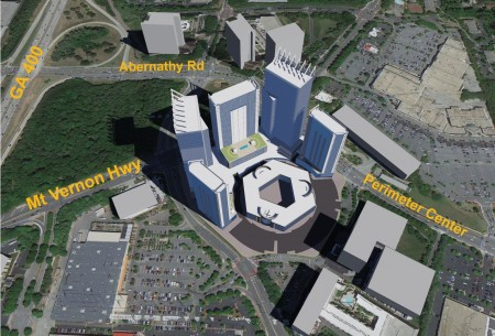 An illustration from the rezoning application for 1117 Perimeter Center West.