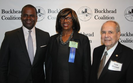 Atlanta Mayor Kasim Reed (left) joins Paulette Brown, president of the American Bar Association, and Buckhead Coalition President Sam Massell at the Coalition's 27th annual meeting Jan. 27 at 103 West. (Photo John Ruch)