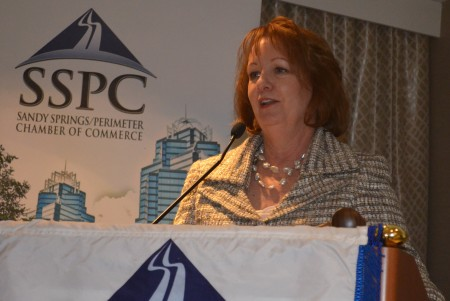 Teresa M. Finley, senior vice president of global marketing at United Parcel Service, delivers the keynote speech at the Sandy Springs/Perimeter Chamber of Commerce annual luncheon on Jan. 21.