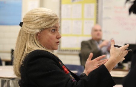Lynn King said she is unhappy with the redistricting options for the Cross Keys cluster.