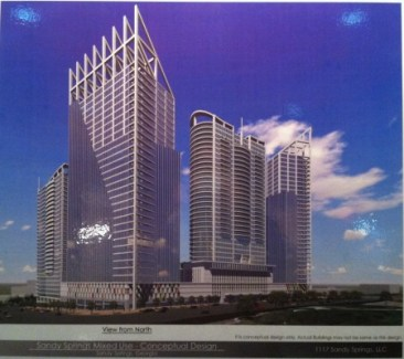 A detail of an updated design illustration of the skyscrapers proposed at 1117 Perimeter Center West, shown at the Jan. 20 meeting. (Photo John Ruch)