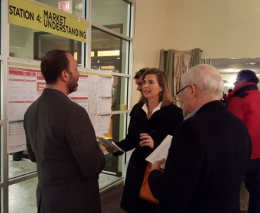 """Residents talk with consultant Lee Sobel of RCLCO about Sandy Springs' market and demographics at the """"Next Ten"""" workshop Jan. 27 at Sherwood Event Hall. (Photo John Ruch)"""