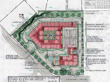 A site plan of the Parc Glenridge Senior Community from a filing with the city of Sandy Springs.