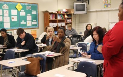 Parents discuss redistricting plans during a recent public meeting at Cross Keys High School. (Photo Dyana Bagby)