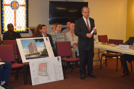 Lawyer Carl Westmoreland presents the plan for a new tower on Peachtree Road to NPU-B on Feb. 2.