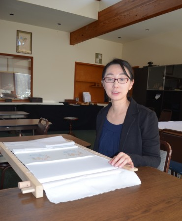 Kazumi Fujisawa, educational director of the Japanese Embroidery Center, in the classroom at the Sandy Springs center.