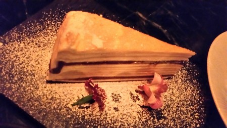 The mille-feuille contains lawyers of chocolate.