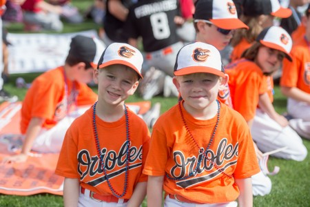 Wyatt Botha, left, and Ray Rooker, pose during the Opening Day parade.
