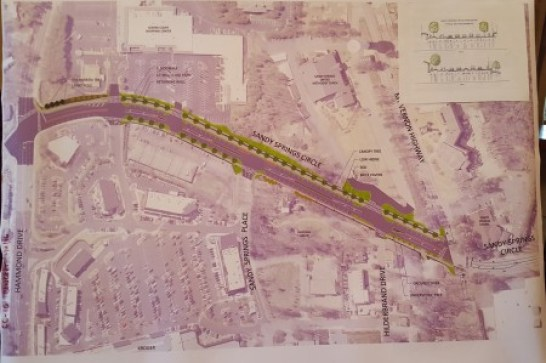 An illustration of the proposed Sandy Springs Circle design presented at the March 9 open house. (Photo John Ruch)