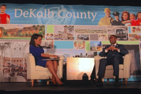 WSB-TV anchor Erin Coleman and DeKalb Interim CEO Lee May at the 2016 State of the County. (Photo Dyana Bagby)