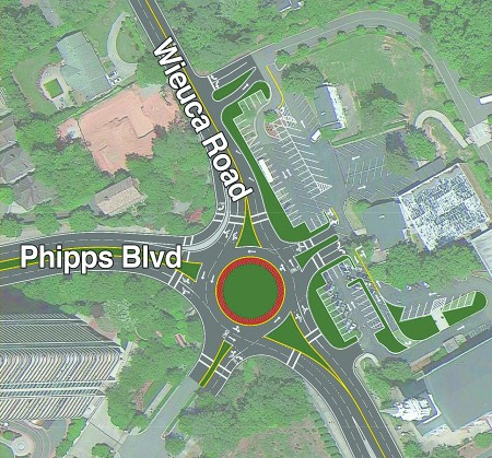 A basic concept of the Wieuca Road and Phipps Boulevard roundabout produced by a consultant  in 2015.