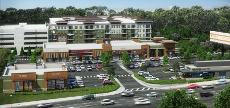 This illustration from Arris Realty Trust's city filing shows the proposed three-building Plaza at City Springs South retail project in front and the Cliftwood apartments rising behind it.