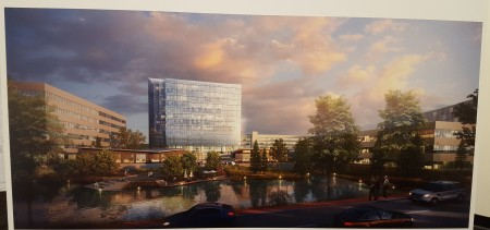 A rendering, presented at the community meeting, of what Lake Hearn might look like after the Pavilion redevelopment. (Photo John Ruch)