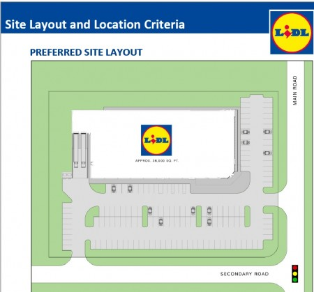 An illustration of an ideal Lidl store site plan from the grocery company's website page instructing developers how to submit proposals.