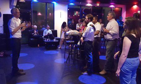 Ryan Gravel, creator of the Atlanta BeltLine concept, speaks at Brookhaven's Royal Lounge April 27. (Photo John Ruch)