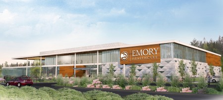 A rendering of the Atlanta Hawks-Emory University training facility to be built in Executive Park in Brookhaven.