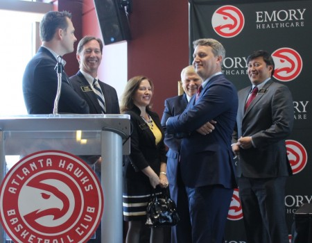 Brookhaven officials at the April 5 press conference where the Atlanta Hawks and Emory University announced a new Hawks training facility to be built in Brookhaven.