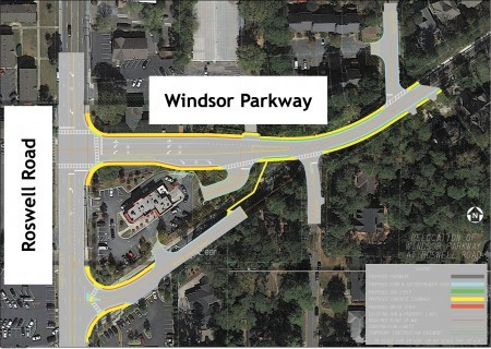 A city map of the Windsor Parkway intersection project, showing the new intersection at the top and the old remnant at bottom.