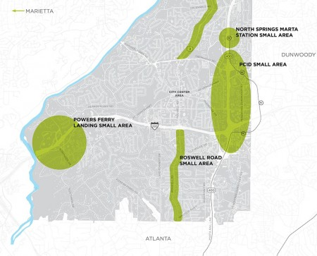 A Next Ten planning map showing the Powers Ferry Landing study area at the far left.