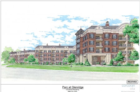 Parc Communities' latest illustration of its proposed senior housing complex at Hammond and Glenridge drives from its city planning file.