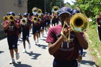 """Osborne Road; Saturday May 6, 2016 12:00pm. Forty Third Annual """"Lynwood Days Parade and Festival"""". The parade started at the Lynwood Park United Christian Church and traveled to Windsor Parkway then turned north on Osborne Road and finished in Lynwood Park. Christopher Carter (sophomore) plays trombone in the Pebblebrook High School Marching Band."""