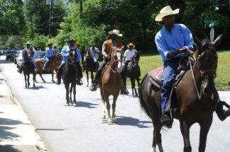 """Osborne Road; Saturday May 6, 2016 12:00pm. Forty Third Annual """"Lynwood Days Parade and Festival"""". The parade started at the Lynwood Park United Christian Church and traveled to Windsor Parkway then turned north on Osborne Road and finished in Lynwood Park. Midnight Cowboys local aquestrian group."""