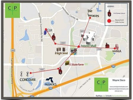 """Wayne Sisco's map of a proposed """"SkyWays"""" gondola network connecting Perimeter Mall and various corporate buildings in Perimeter Center."""