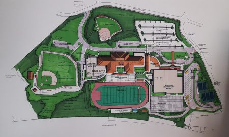 An illustration of the full, conceptual Riverwood International Charter School master plan presented at the May 23 meeting. (Photo John Ruch)