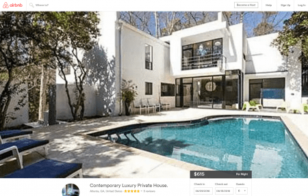 A screenshot of the Peachtree-Dunwoody Road house's listing on Airbnb.com shortly before it was temporarily removed by owner Paul McPherson.