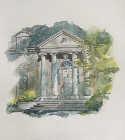 A watercolor of a Club Drive house created by author and architect Richard Diedrich for the upcoming Historic Brookhaven book.