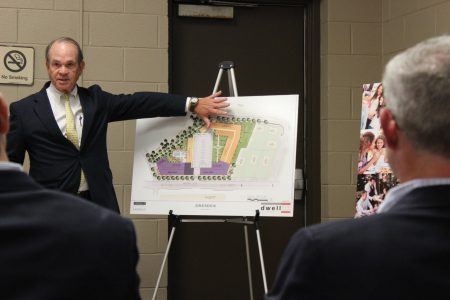 Attorney Carl Westmoreland discusses the Dresden Village project. (Photo Dyana Bagby)