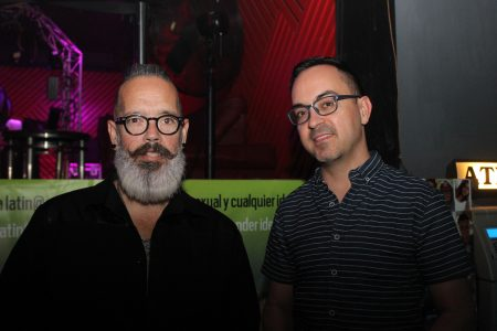 """Greg Bautista, right, and Moises Prado, enjoy """"Latino night"""" for LGBT people at Club Rush on Buford Highway. (Photo Dyana Bagby)"""