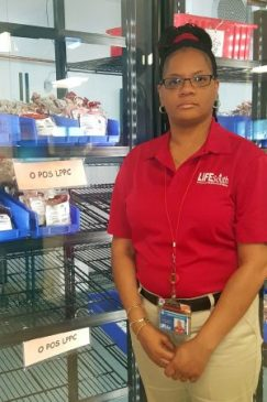 LifeSouth's Hospital Services Supervisor Lisa Leonard-Jones in Georgia with nearly empty shelves that are supposed to hold hundreds of blood donations. (Courtesy photo)