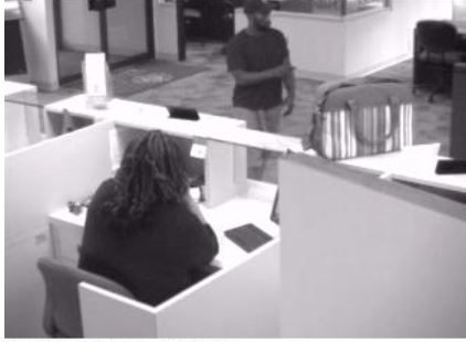 Surveillance footage of the suspected bank robber.